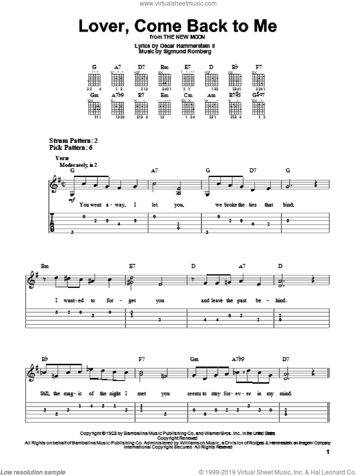 Lover, Come Back To Me sheet music for guitar solo (easy tablature) by Sigmund Romberg and Oscar II Hammerstein, easy guitar (easy tablature). Score Image Preview.