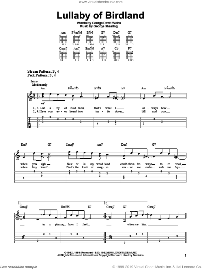Lullaby Of Birdland sheet music for guitar solo (easy tablature) by George David Weiss and George Shearing. Score Image Preview.