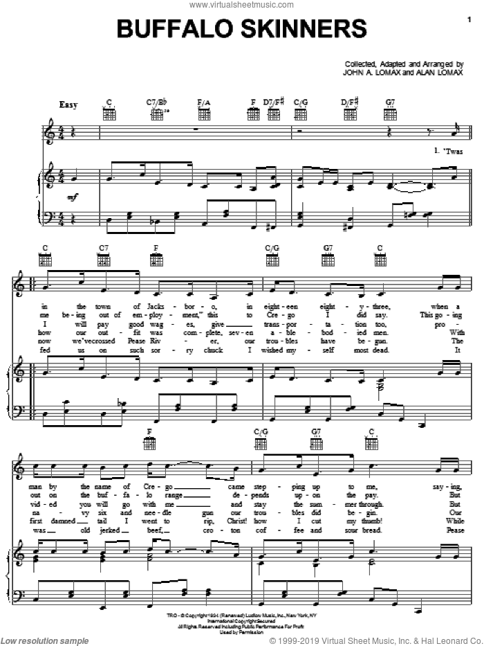 Buffalo Skinners sheet music for voice, piano or guitar by John A. Lomax, intermediate. Score Image Preview.