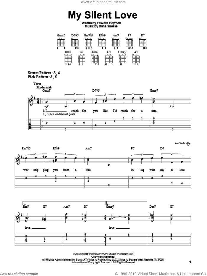 My Silent Love sheet music for guitar solo (easy tablature) by Dana Suesse and Edward Heyman. Score Image Preview.