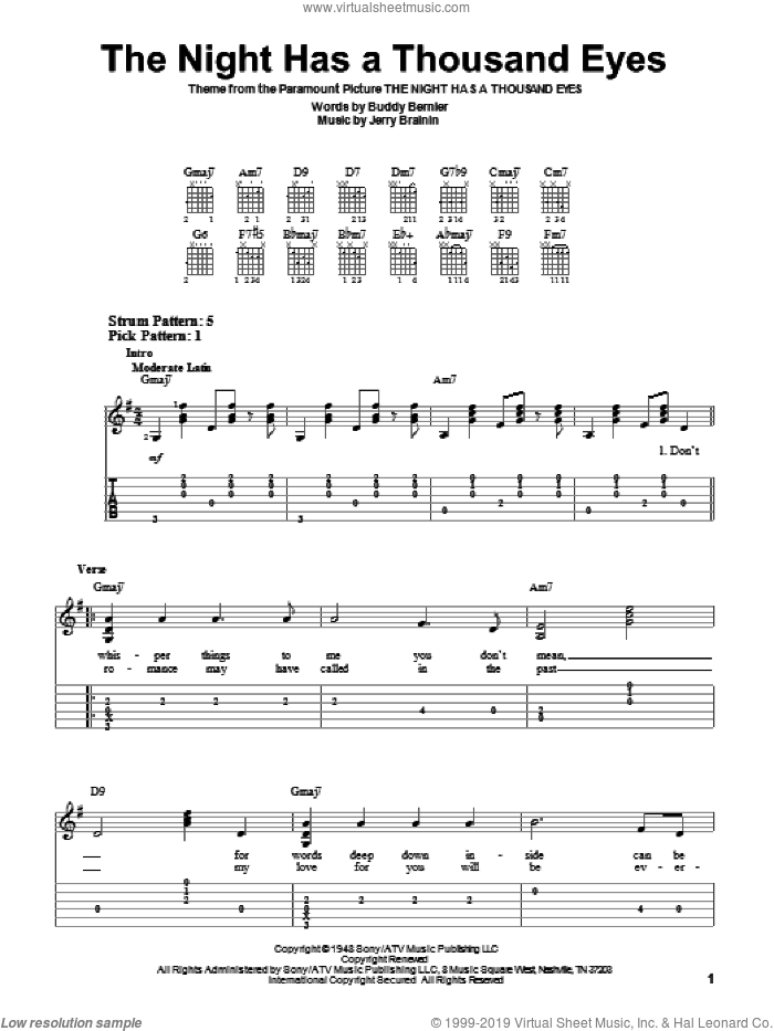 The Night Has A Thousand Eyes sheet music for guitar solo (easy tablature) by Buddy Bernier, easy guitar (easy tablature). Score Image Preview.