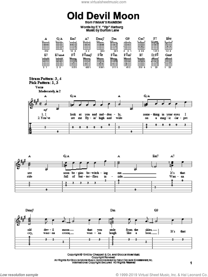 Old Devil Moon sheet music for guitar solo (easy tablature) by Burton Lane