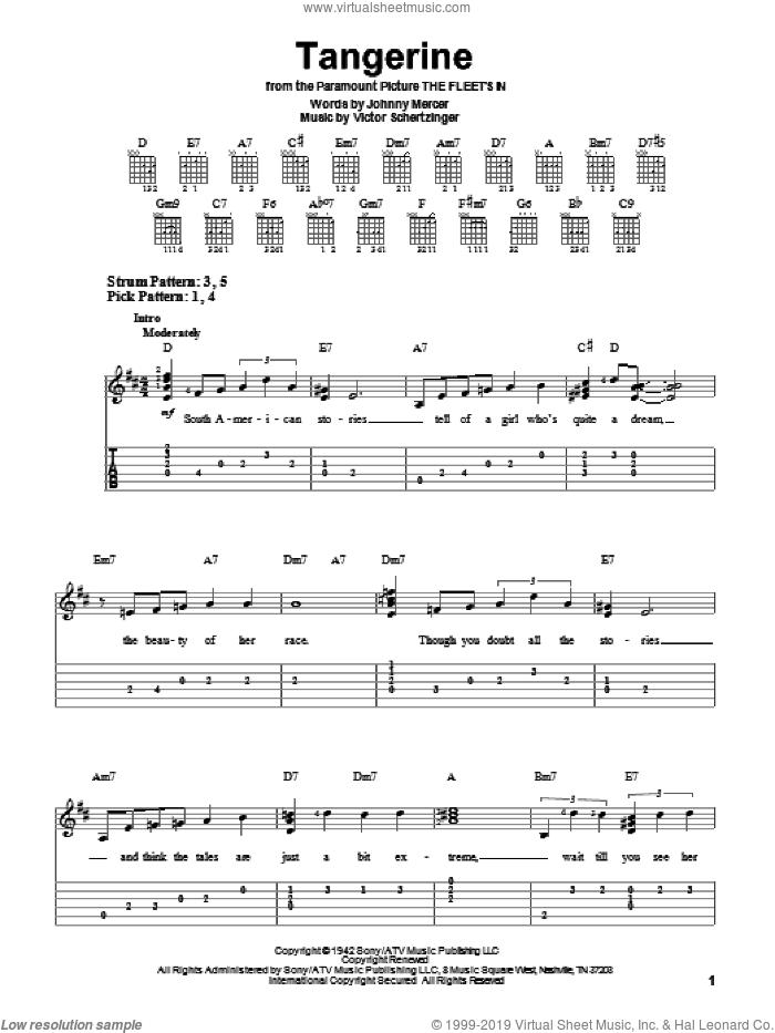 Tangerine sheet music for guitar solo (easy tablature) by Victor Schertzinger