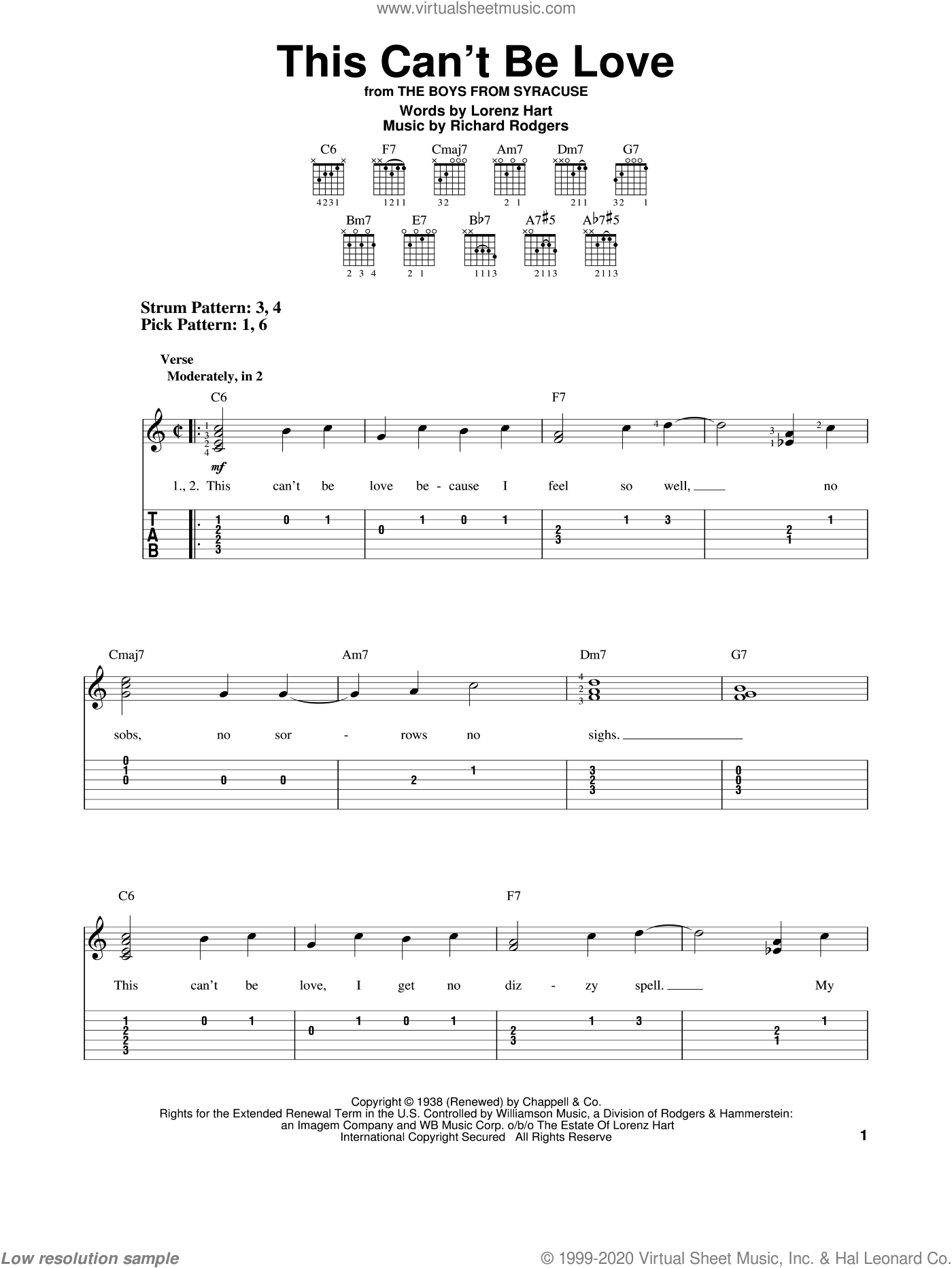This Can't Be Love sheet music for guitar solo (easy tablature) by Rodgers & Hart, Lorenz Hart and Richard Rodgers, easy guitar (easy tablature)