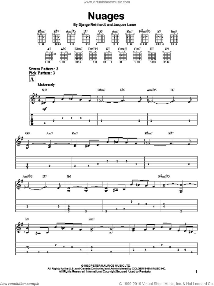 Nuages sheet music for guitar solo (easy tablature) by Jacques Larue and Django Reinhardt. Score Image Preview.