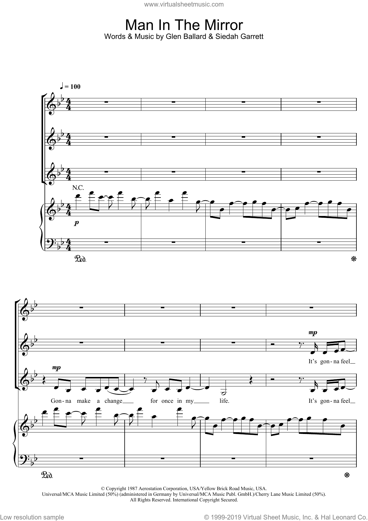 Man In The Mirror sheet music for choir (SSA: soprano, alto) by Michael Jackson, Glen Ballard and Siedah Garrett, intermediate skill level