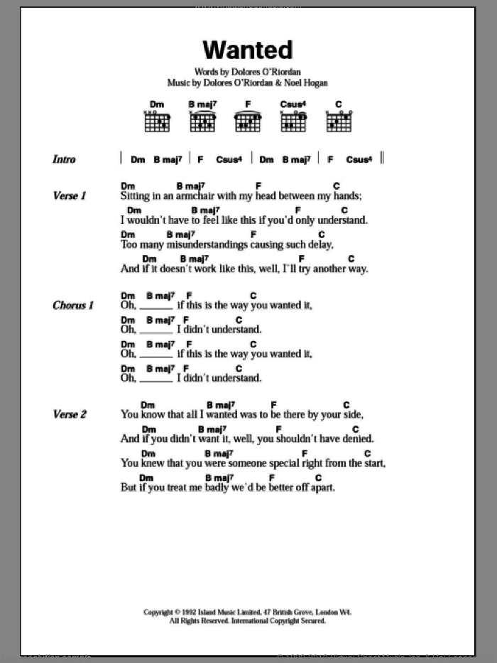 Wanted sheet music for guitar (chords) by The Cranberries. Score Image Preview.