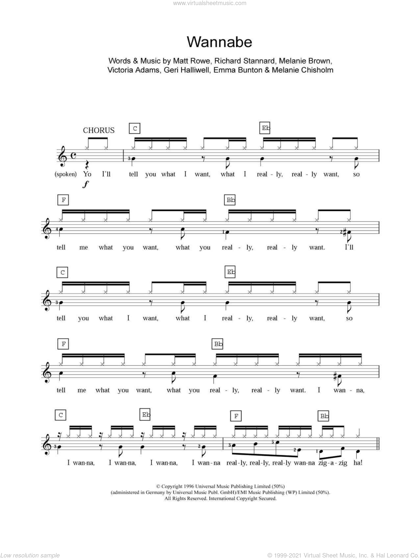 Wannabe sheet music for piano solo (chords, lyrics, melody) by The Spice Girls, Emma Bunton, Geri Halliwell and Melanie Chisholm, intermediate piano (chords, lyrics, melody)