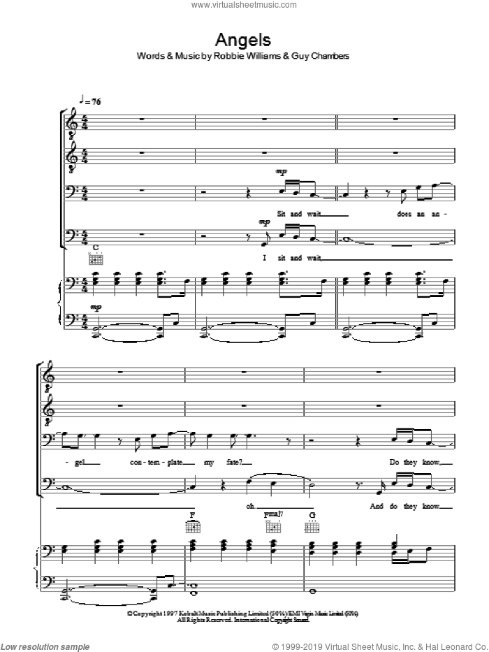 Angels sheet music for choir (TTBB: tenor, bass) by Robbie Williams and Guy Chambers, intermediate skill level
