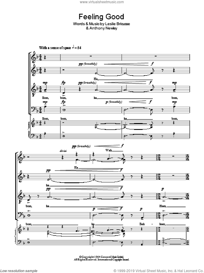 Feeling Good sheet music for choir (SATB) by Leslie Bricusse, Nina Simone and Anthony Newley. Score Image Preview.