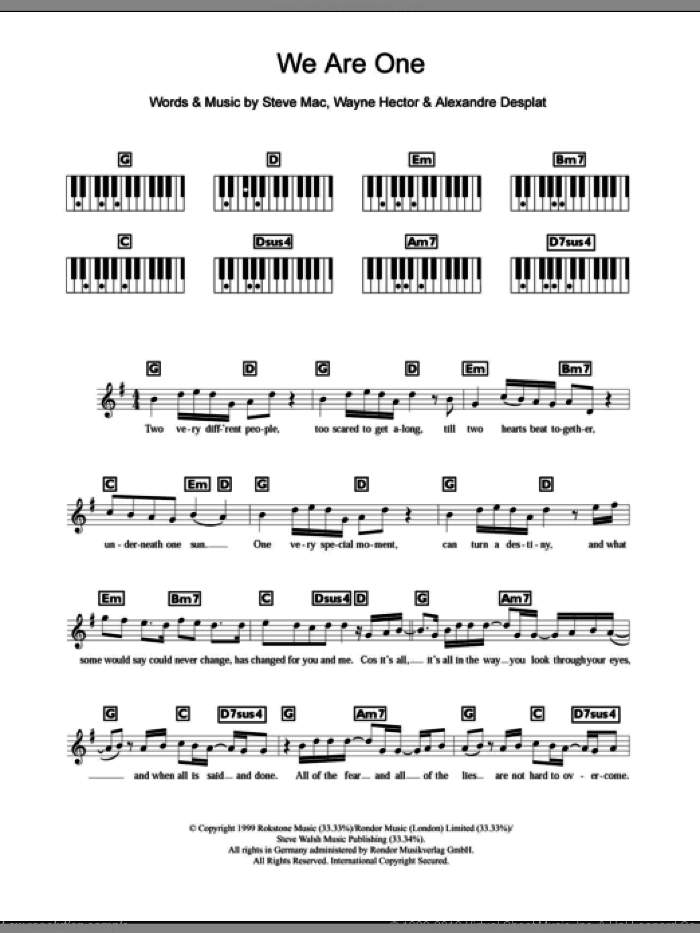 We Are One sheet music for piano solo (chords, lyrics, melody) by Westlife, Alexandre Desplat, Steve Mac and Wayne Hector, intermediate piano (chords, lyrics, melody). Score Image Preview.