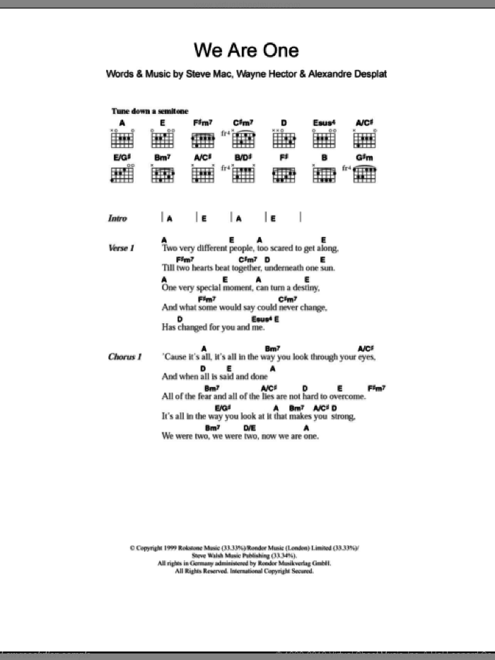 We Are One sheet music for guitar (chords, lyrics, melody) by Wayne Hector