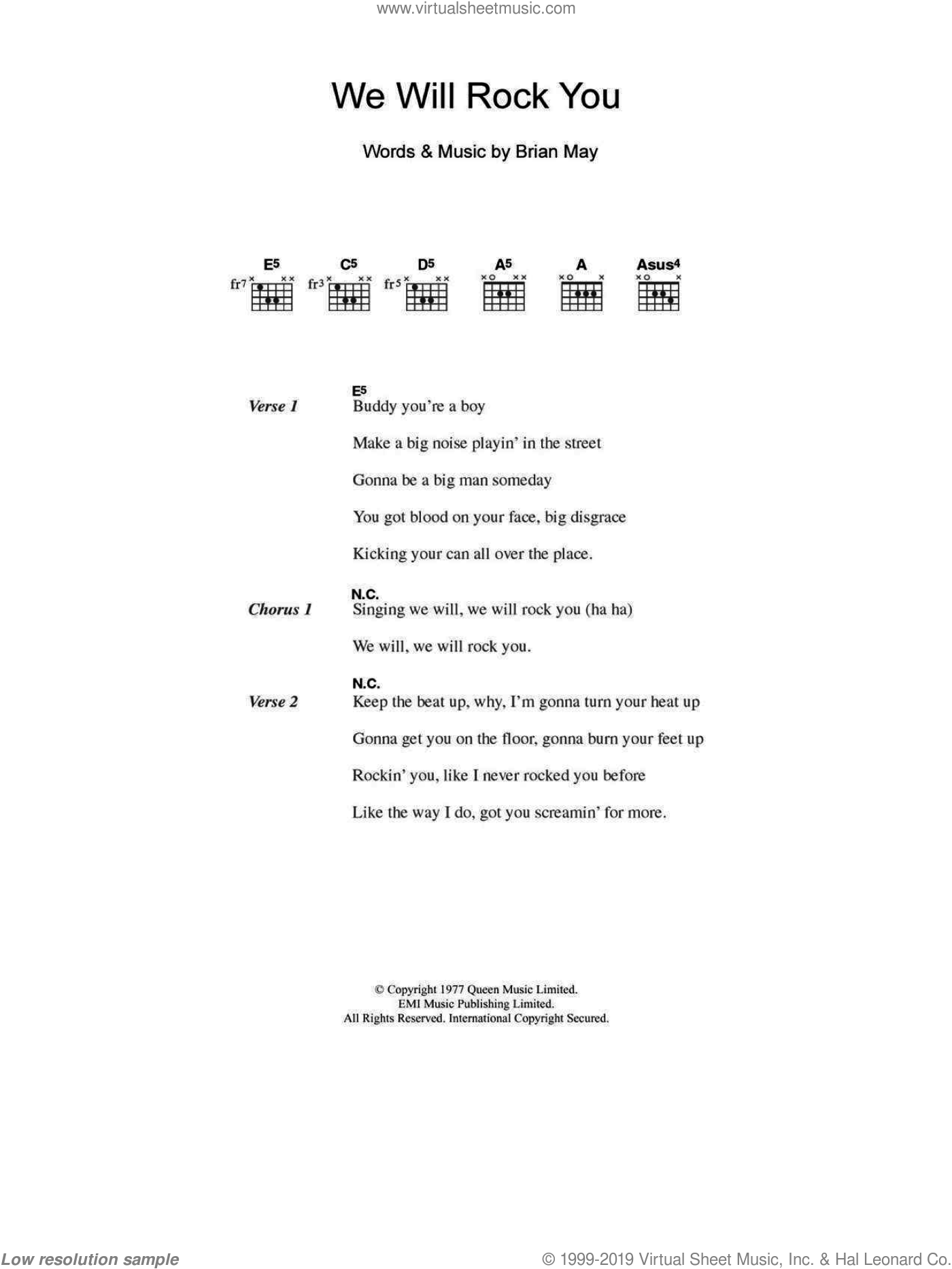 We Will Rock You sheet music for guitar (chords) by Brian May, Ben Folds Five and Queen. Score Image Preview.