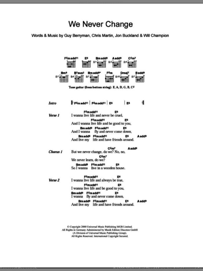 We Never Change sheet music for guitar (chords) by Coldplay, intermediate. Score Image Preview.