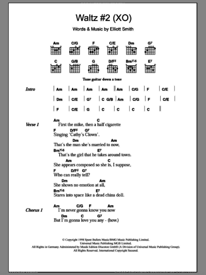 Waltz #2 (XO) sheet music for guitar (chords) by Elliott Smith. Score Image Preview.