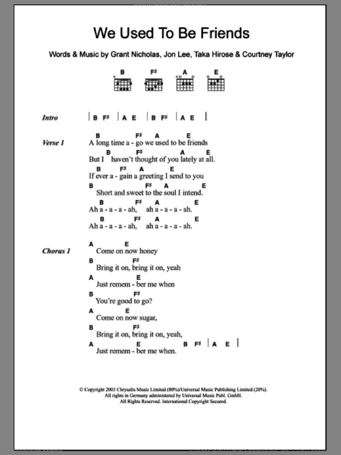 We Used To Be Friends sheet music for guitar (chords) by The Dandy Warhols, intermediate. Score Image Preview.