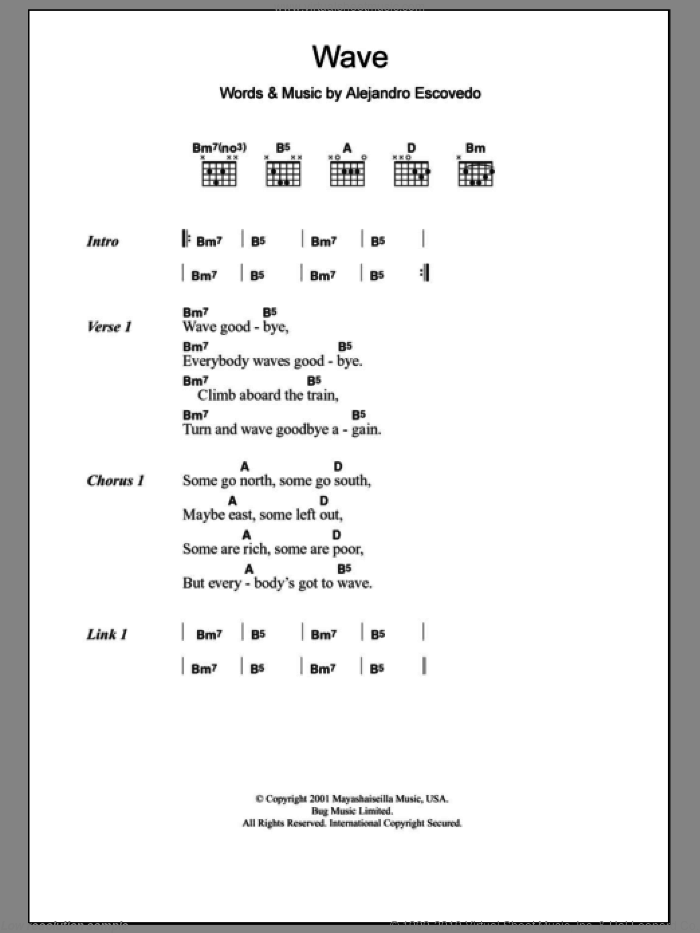 Wave sheet music for guitar (chords) by Alejandro Escovedo