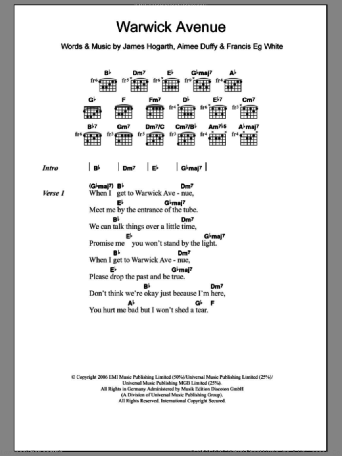 Warwick Ave. sheet music for guitar (chords) by Duffy, Aimee Duffy, Francis White and James Hogarth, intermediate