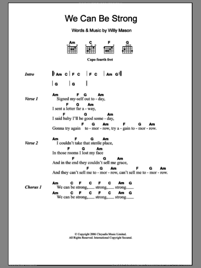 We Can Be Strong sheet music for guitar (chords) by Willy Mason