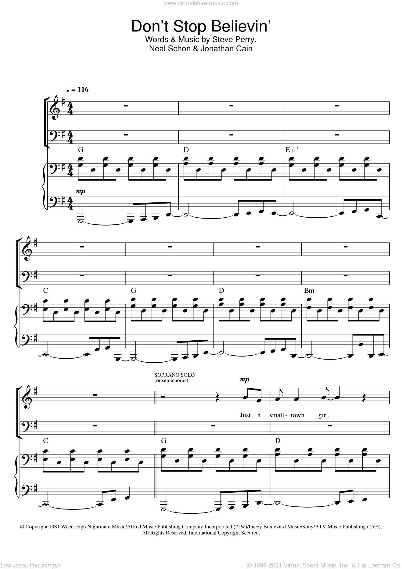 Journey Dont Stop Believin Sheet Music For Choir Sab Soprano
