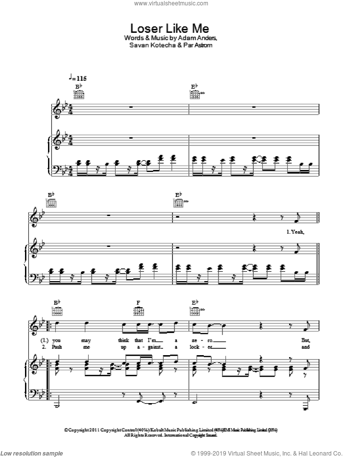 Loser Like Me sheet music for voice, piano or guitar by Savan Kotecha