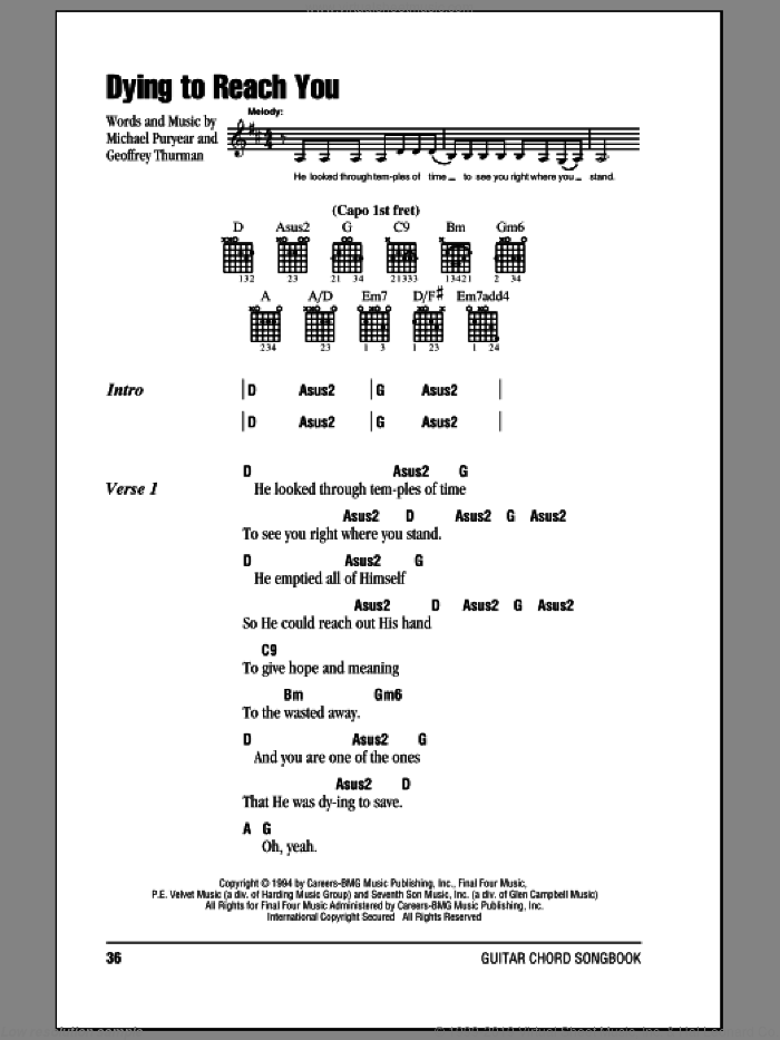 Dying To Reach You sheet music for guitar (chords) by Point Of Grace, intermediate guitar (chords). Score Image Preview.