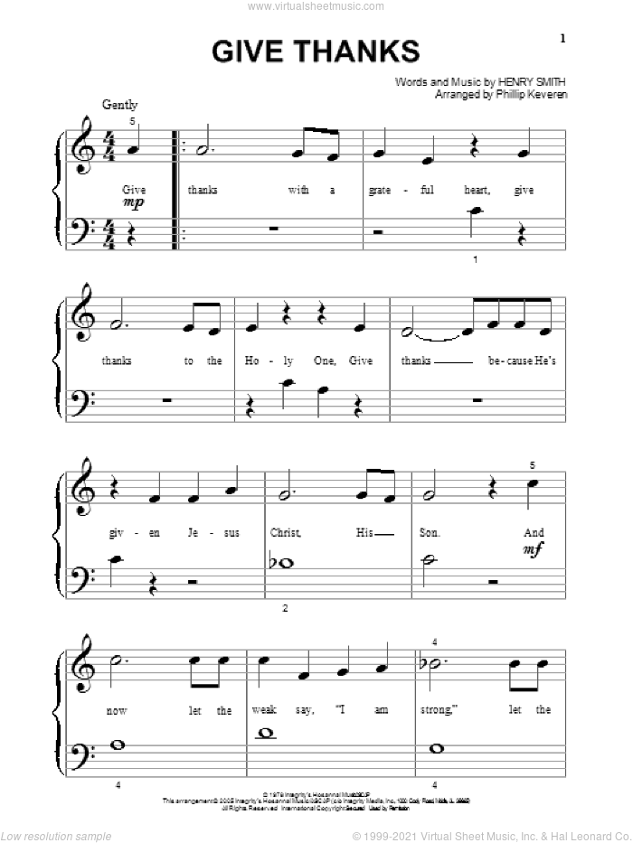Give Thanks sheet music for piano solo (big note book) by Henry Smith and Phillip Keveren. Score Image Preview.