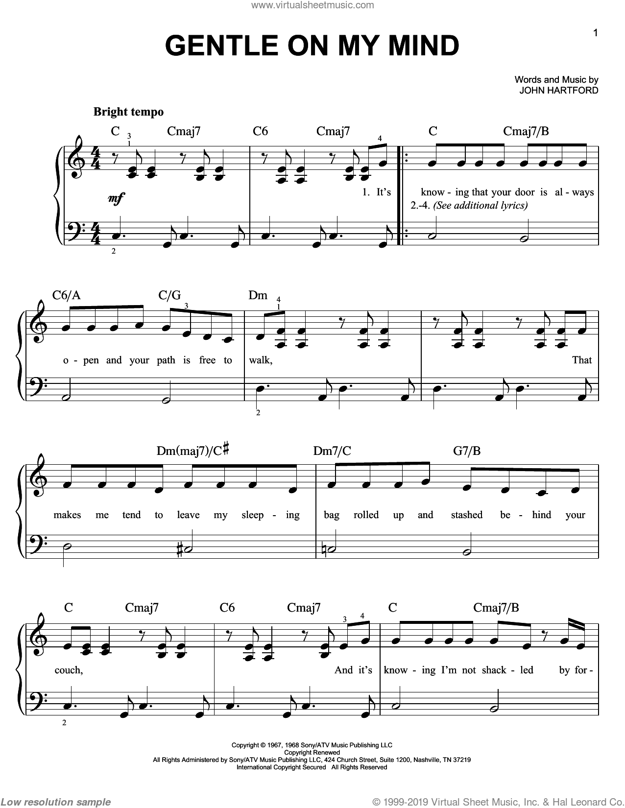 Gentle On My Mind sheet music for piano solo by Glen Campbell, Johnny Cash and John Hartford, beginner skill level
