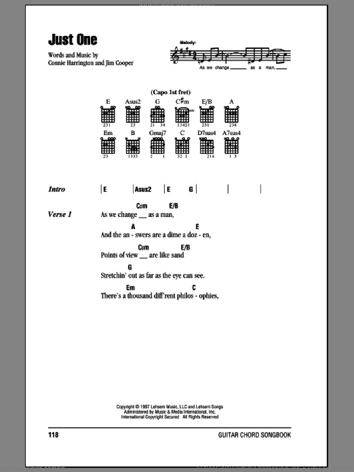 Just One sheet music for guitar (chords) by Phillips, Craig & Dean, Connie Harrington and Jim Cooper, intermediate skill level