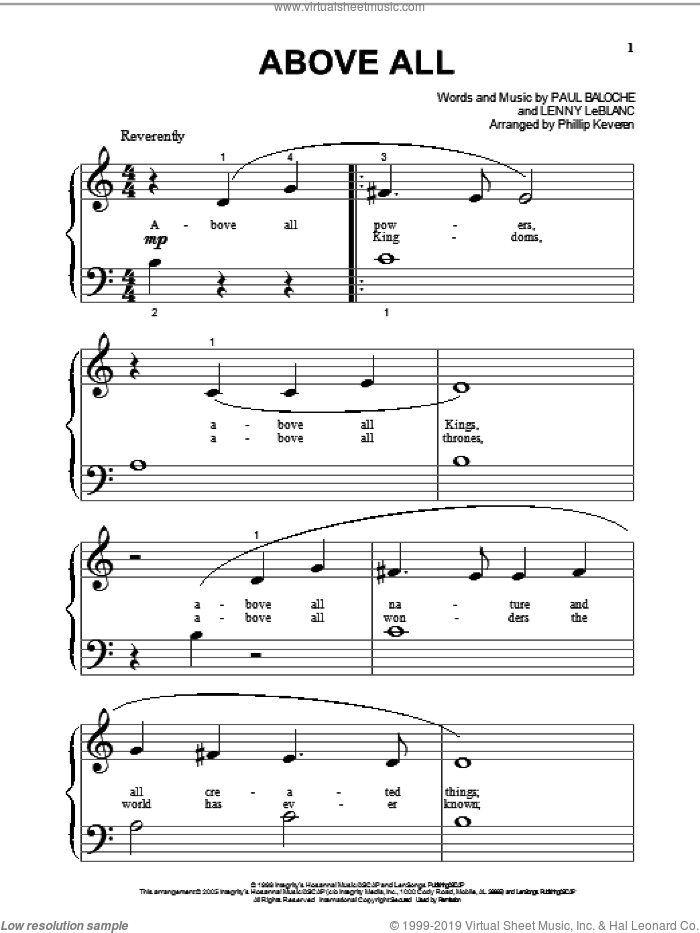 Above All sheet music for piano solo (big note book) by Lenny LeBlanc, Phillip Keveren and Paul Baloche. Score Image Preview.