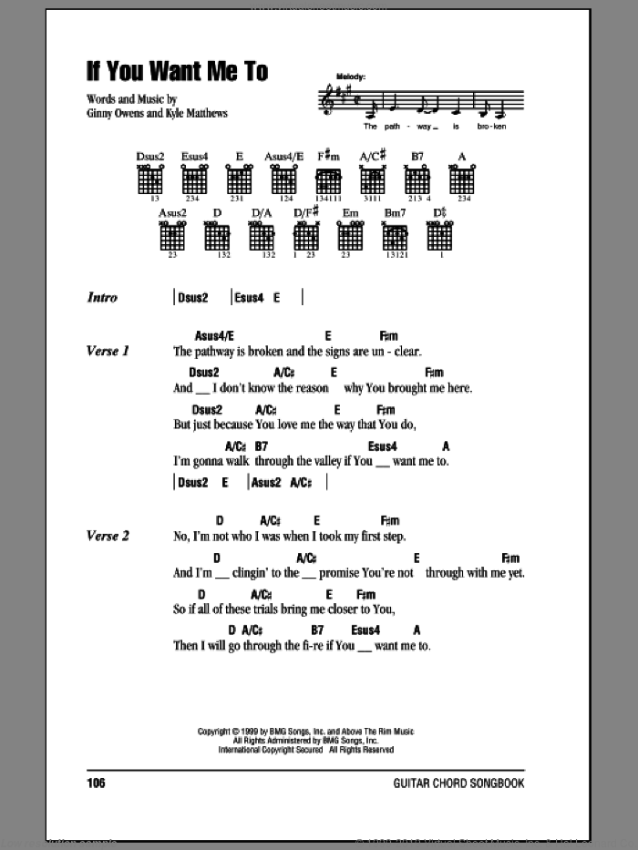 If You Want Me To sheet music for guitar (chords) by Ginny Owens, intermediate guitar (chords). Score Image Preview.