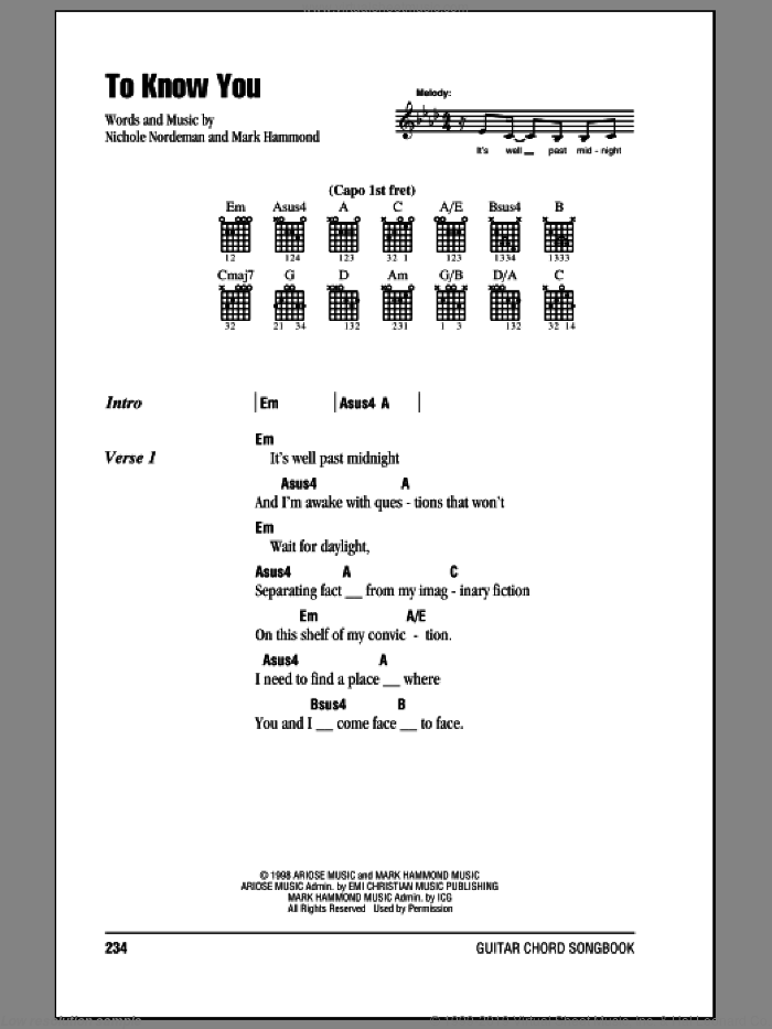 To Know You sheet music for guitar (chords) by Nichole Nordeman and Mark Hammond, intermediate. Score Image Preview.