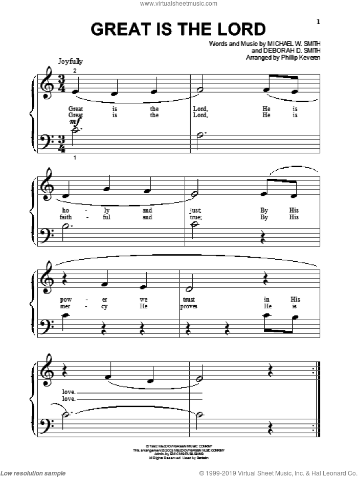 Great Is The Lord sheet music for piano solo (big note book) by Michael W. Smith, Phillip Keveren and Deborah D. Smith, easy piano (big note book)