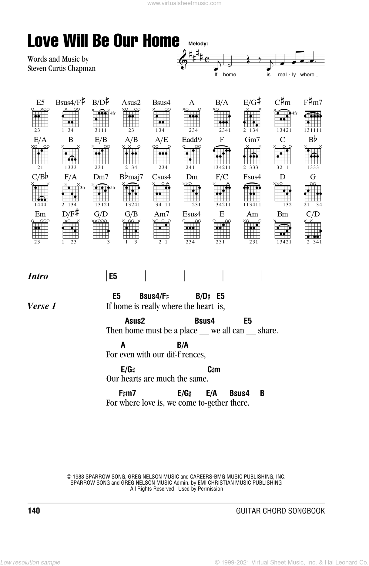 Love Will Be Our Home sheet music for guitar (chords) by Steven Curtis Chapman