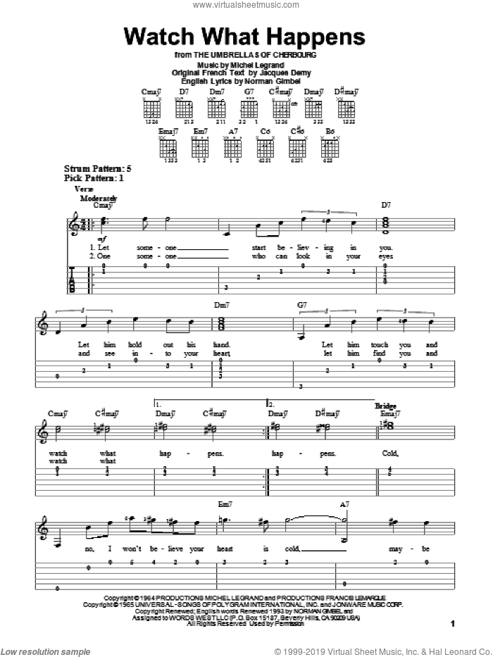 Watch What Happens sheet music for guitar solo (easy tablature) by Michel LeGrand and Norman Gimbel, easy guitar (easy tablature). Score Image Preview.