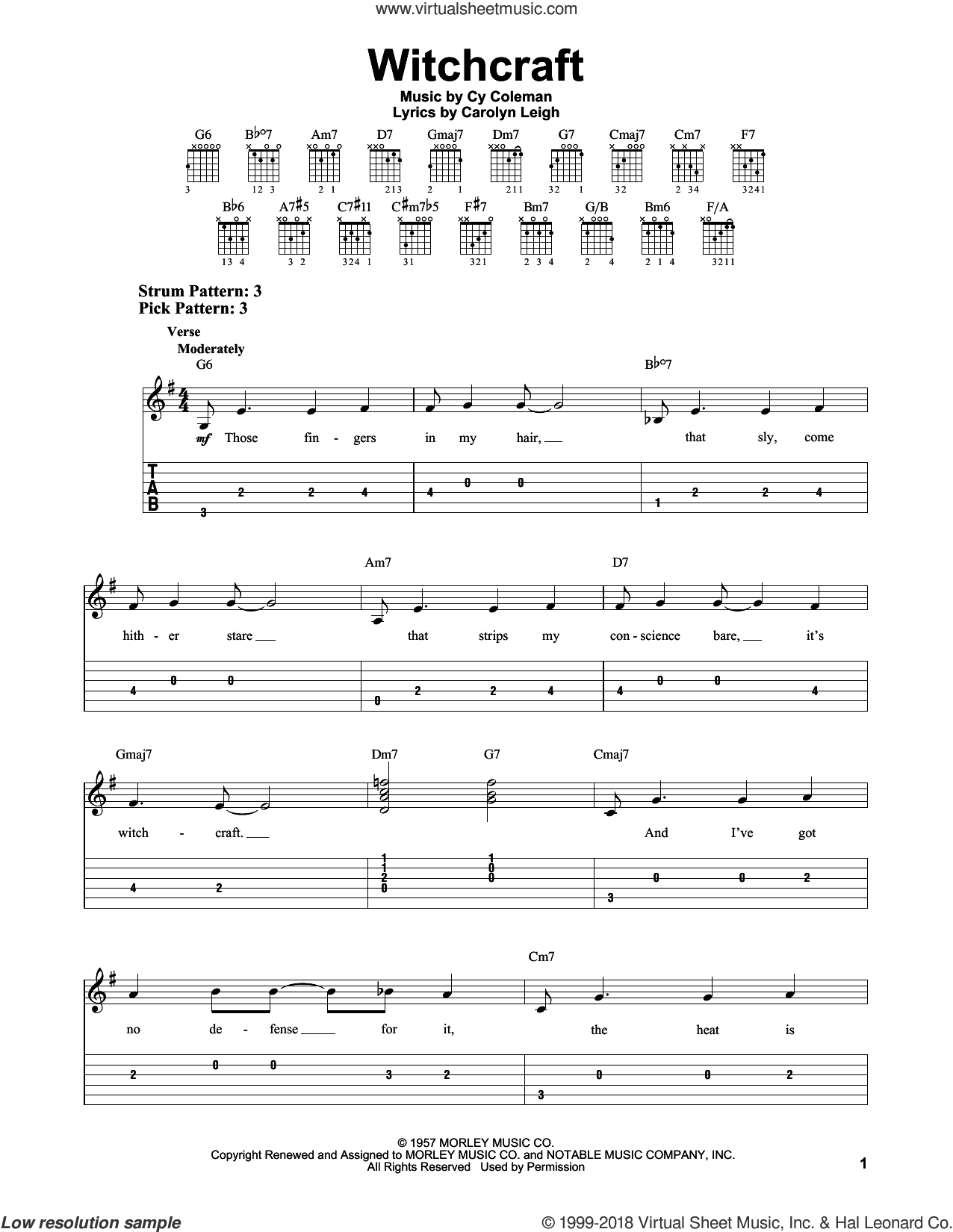 Witchcraft sheet music for guitar solo (easy tablature) by Carolyn Leigh