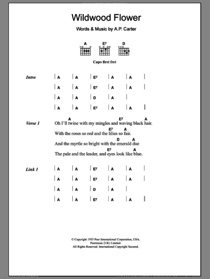 Wildwood Flower sheet music for guitar (chords) by The Carter Family. Score Image Preview.