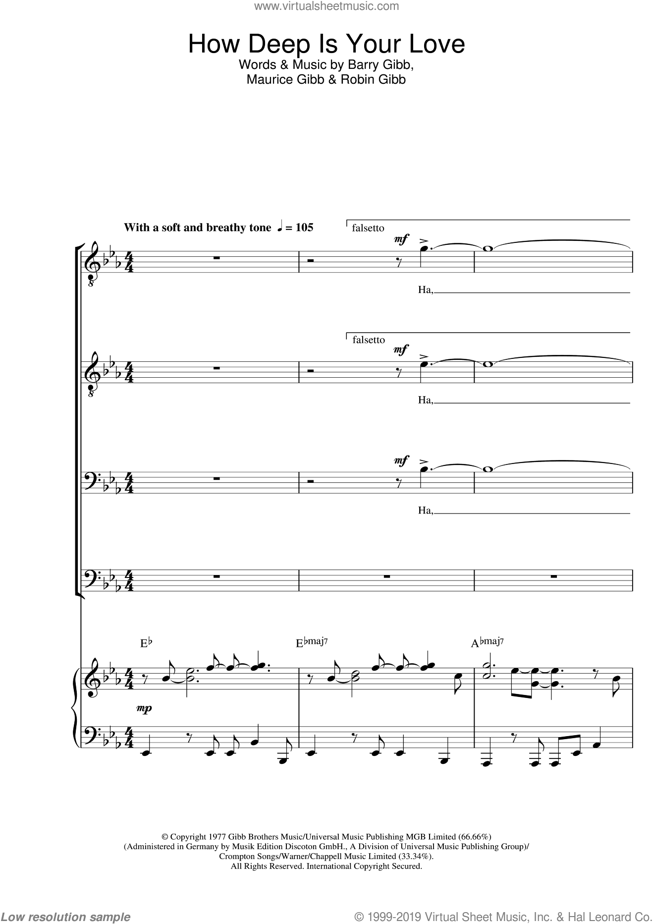 How Deep Is Your Love sheet music for choir and piano (TTBB) by Robin Gibb