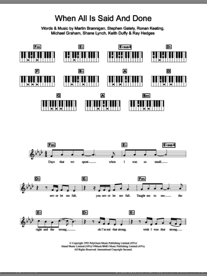 When All Is Said And Done sheet music for piano solo (chords, lyrics, melody) by Boyzone, intermediate piano (chords, lyrics, melody). Score Image Preview.