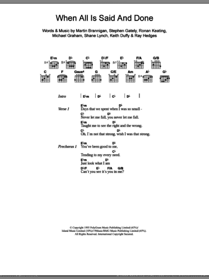 When All Is Said And Done sheet music for guitar (chords) by Boyzone. Score Image Preview.