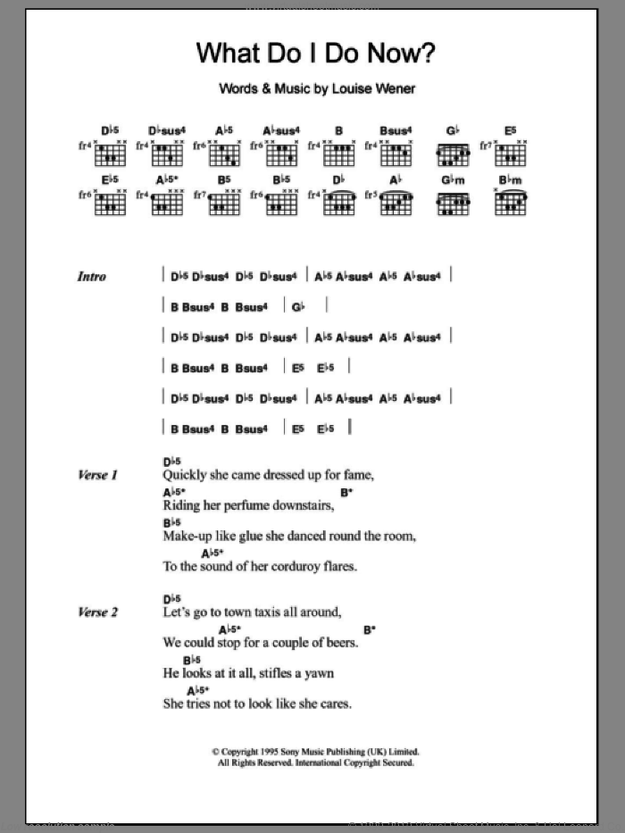 What Do I Do Now? sheet music for guitar (chords) by Sleeper. Score Image Preview.