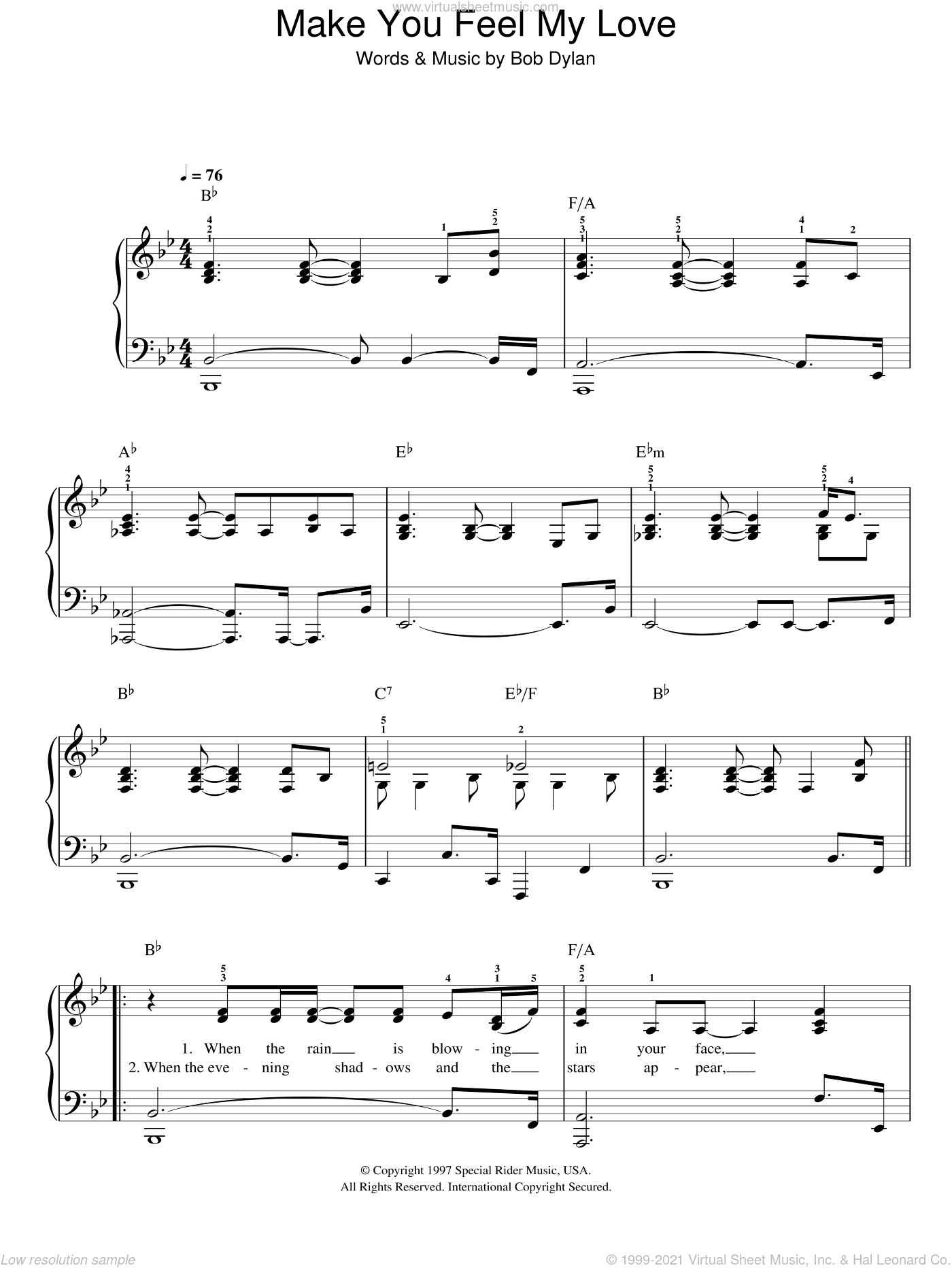 Make You Feel My Love sheet music for piano solo by Adele and Bob Dylan, easy skill level