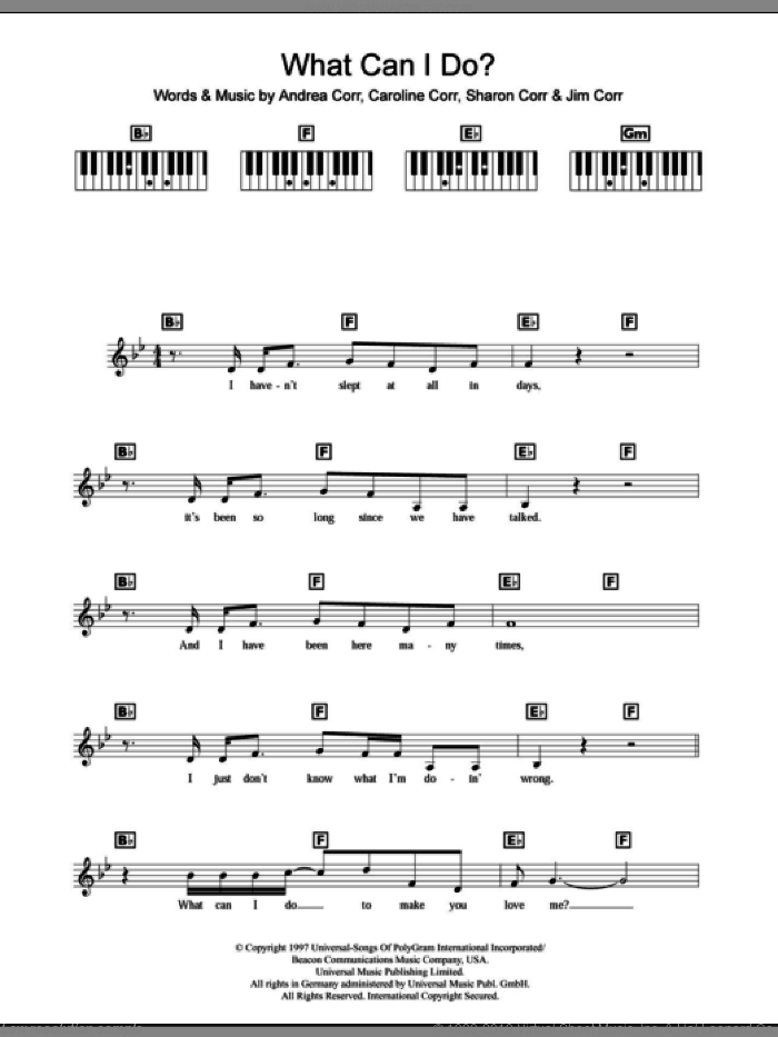 What Can I Do sheet music for piano solo (chords, lyrics, melody) by The Corrs, intermediate piano (chords, lyrics, melody)