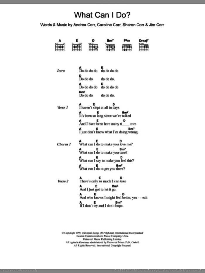 What Can I Do sheet music for guitar (chords) by The Corrs, intermediate. Score Image Preview.