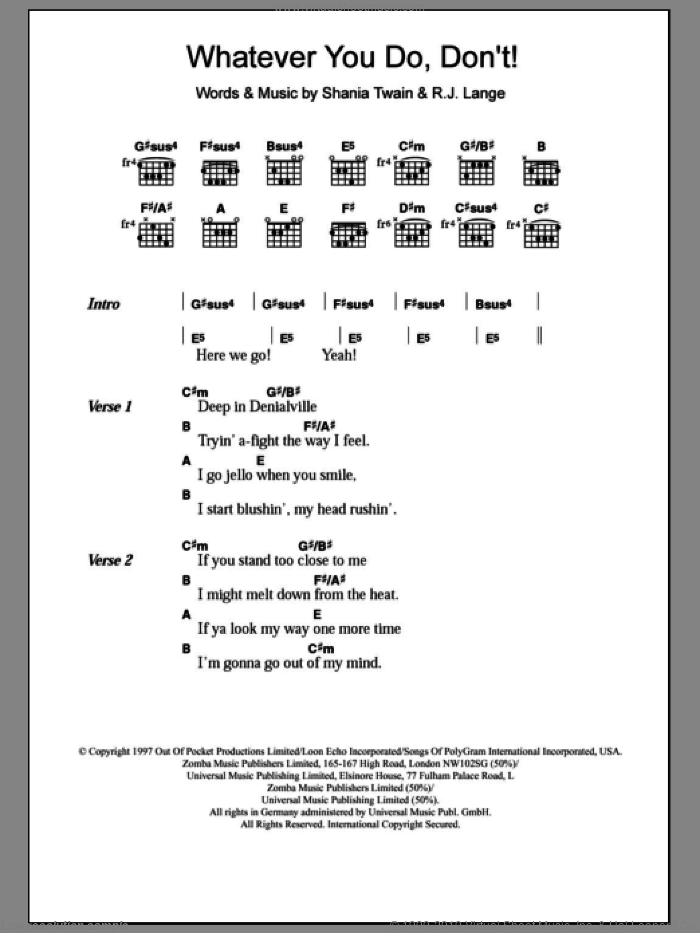 Whatever You Do, Don't! sheet music for guitar (chords) by Shania Twain, intermediate
