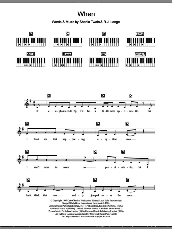 When sheet music for piano solo (chords, lyrics, melody) by Shania Twain. Score Image Preview.