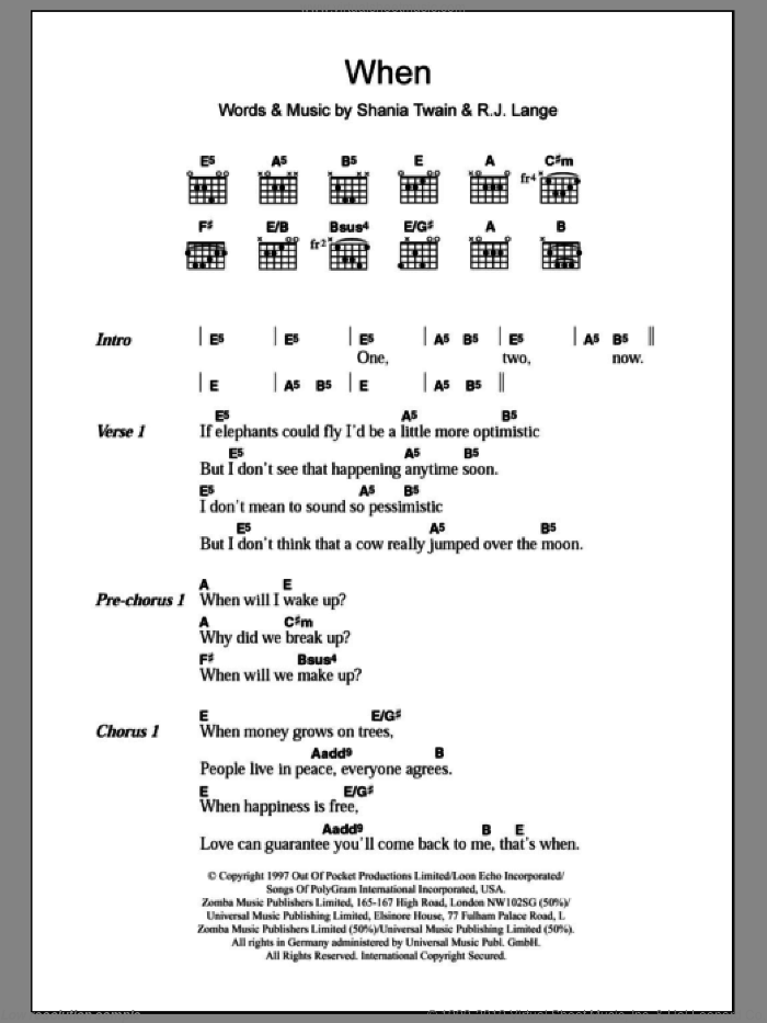 When sheet music for guitar (chords) by Shania Twain, intermediate. Score Image Preview.