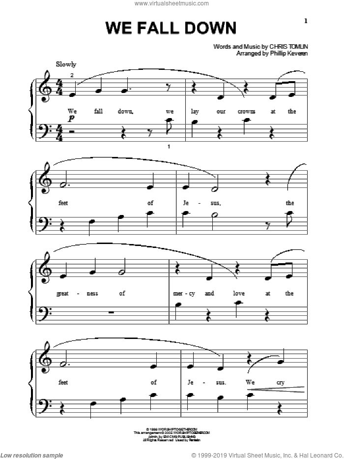 We Fall Down sheet music for piano solo (big note book) by Chris Tomlin, Phillip Keveren and Kutless. Score Image Preview.