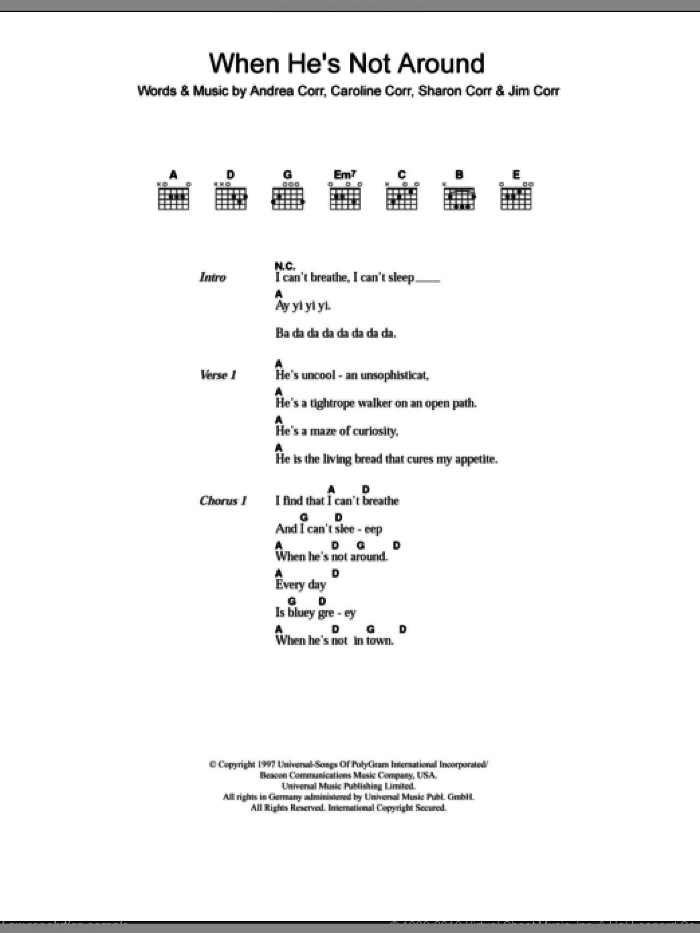 When He's Not Around sheet music for guitar (chords) by The Corrs, intermediate