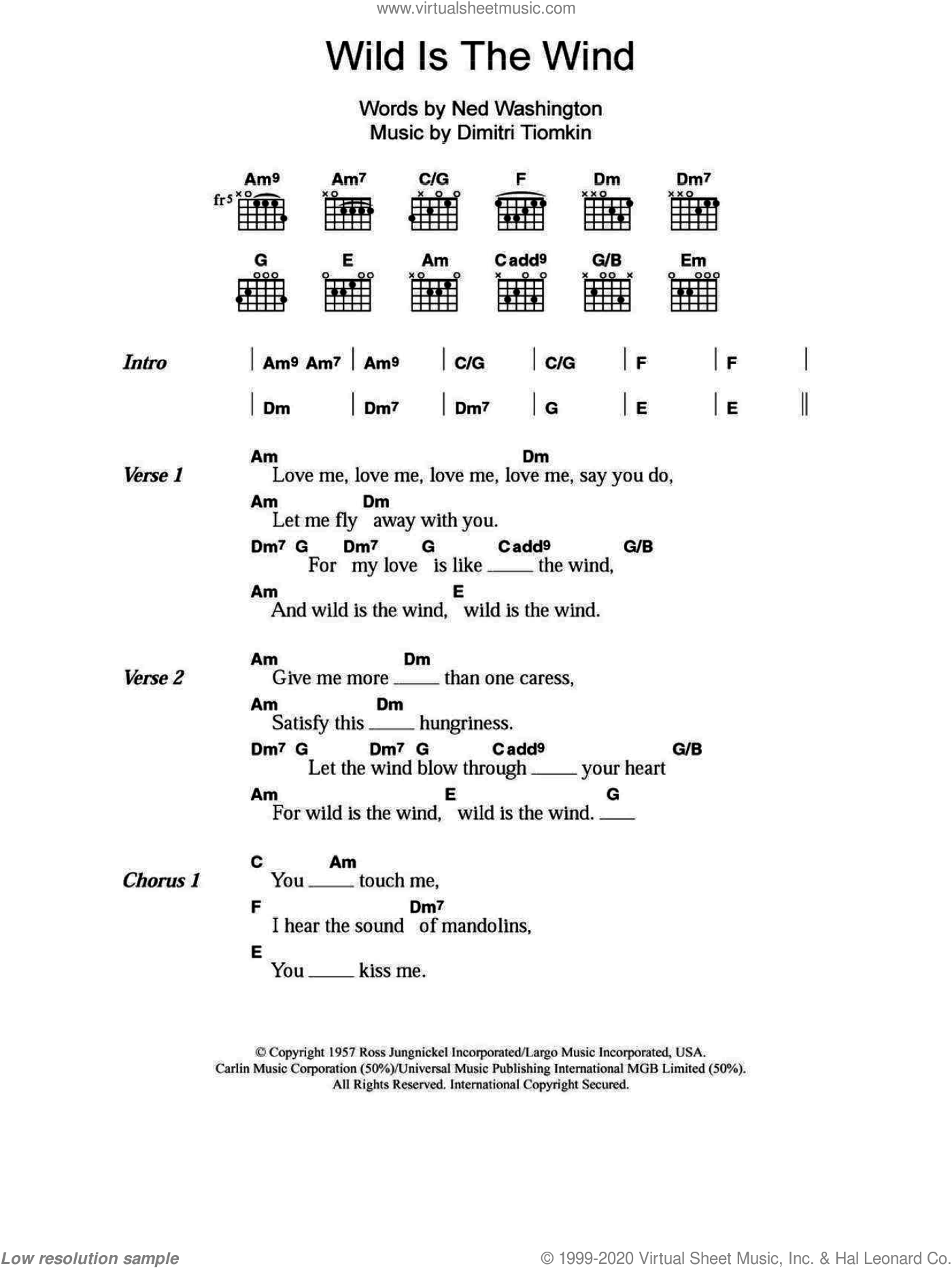 Wild Is The Wind sheet music for guitar (chords) by Nina Simone, David Bowie and Ned Washington, intermediate skill level